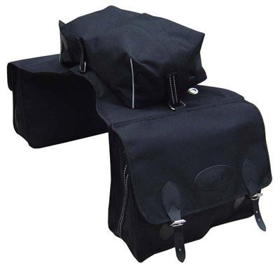 Сумки перемётные тройные (2х7,2 л + 1х11 л) из непромокаемой ткани с тремя крепёжными ремнями